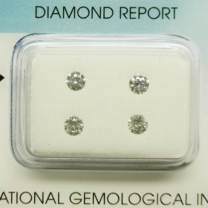 4 pcs Diamanten - 0.40 ct - Rond - E, F - P1, SI2