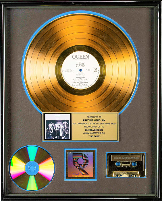 Queen - The Game - Presented to Freddy Mercury - Official RIAA award - 1991/1991