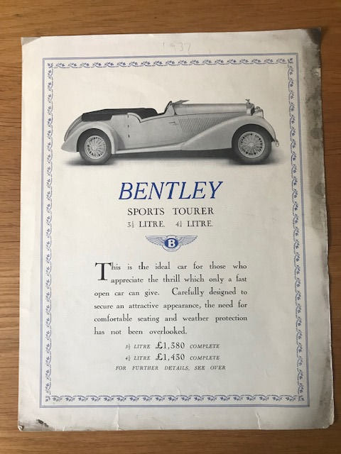 Brochures / Catalogi - 1937 Bentley Sports Tourer 3.5 , 4.25 Original catalogue - 1937-1937
