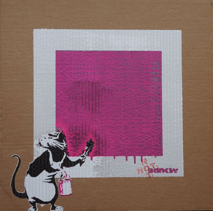 Not Not Banksy  - STOT21stcPlanB - Rat with not black Square (red)