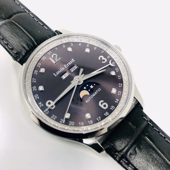 Louis Erard - 1931 Diamonds Automatic Grey with Moon Phase - 31218AD23.BDC36 - Hombre - BRAND NEW