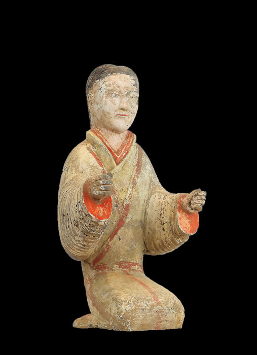 A Masterpiece - Terracotta - A Fine Painted Grey Pottery Kneeling Entertainer, Tl test, CT Scan-X- Ray Test - China - Han Dynastie (206 v. Chr.- 220 n. Chr.)