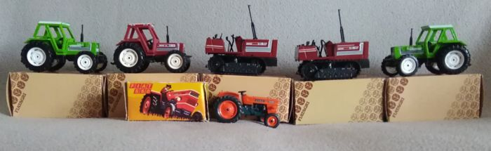 Fiatagri by Ros - DUGU miniautotoys - 1:32, 1:38 - Lotto con 6 trattore: Fiat 550, 95-55, 80-90, Agrifull 110 - Tractors