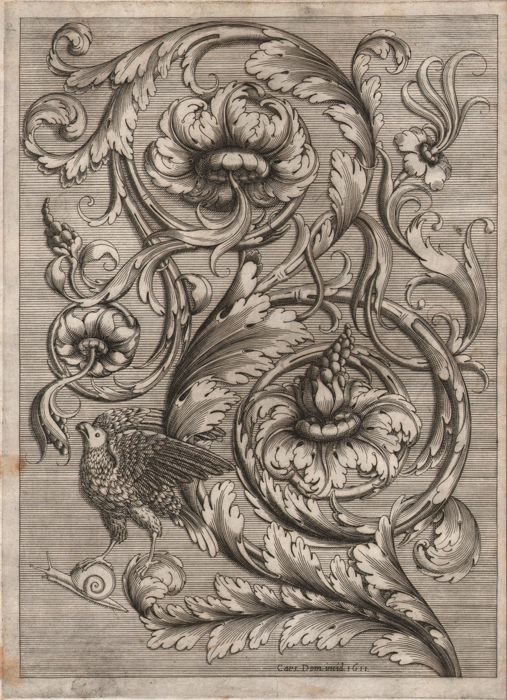 Cesare Domenichi (act. 1589-1614) - Acanthus leaf with a bird - Early impression