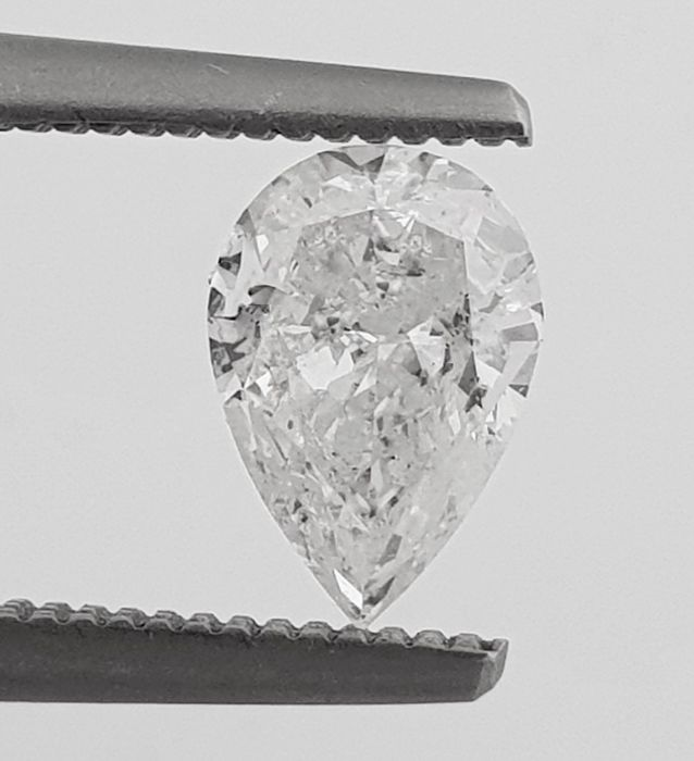 Diamond - 0.71 ct - Pear - D (colourless) - SI2