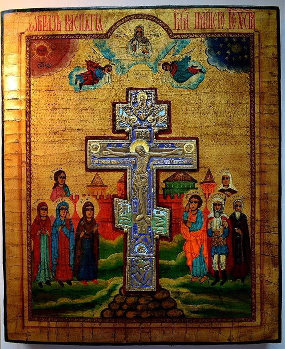 Russian orthodox icon. Crucifixion,  - Icoon - tempera, hout, koperlegering, email