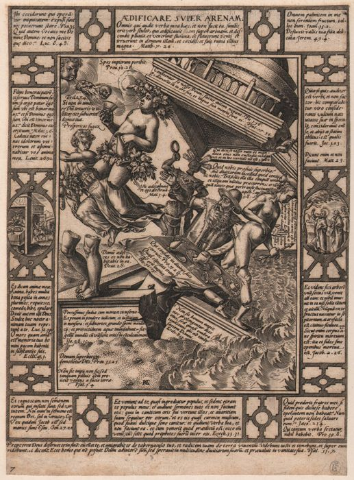 Hendrick Goltzius (1558-1617) - The house build on sand - Collection stamp  Fridrich August