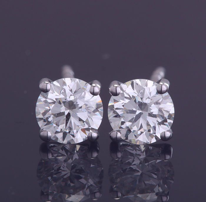 18 quilates Oro blanco - Pendientes - 1.00 ct Diamante