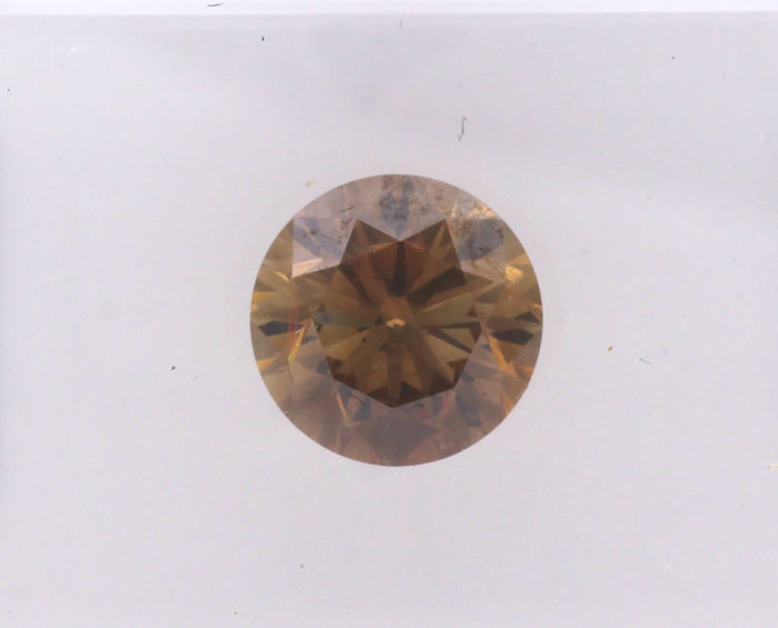 1 pcs Diamond - 1.00 ct - Brilliant, Round - fancy deep orangy brown - VS1