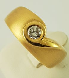 18 K Ouro amarelo - Anel de Diamante - 750 Gold - 1 Diamante, 0,22 ct. - 0.22 ct Diamante
