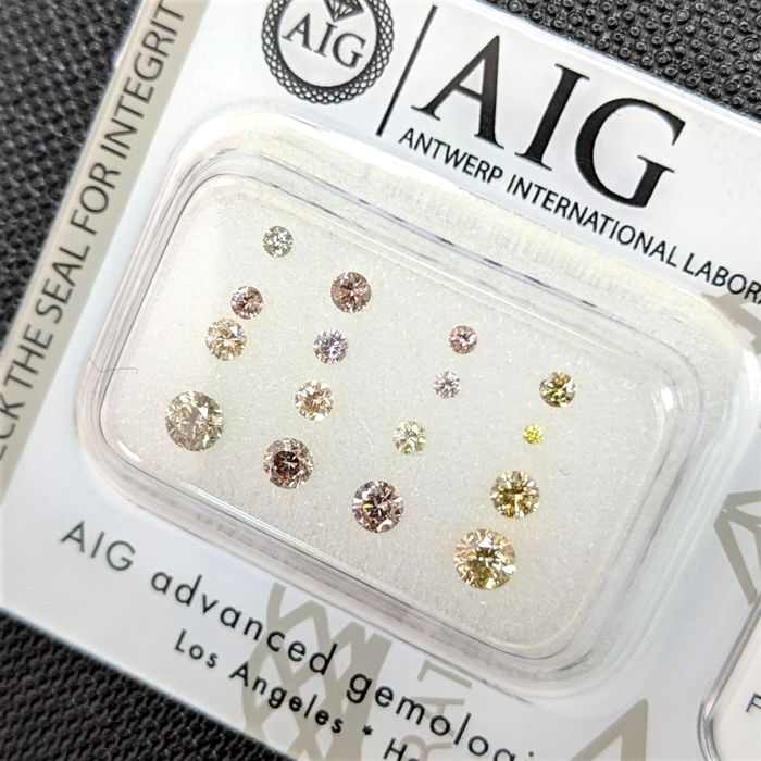 16 pcs Diamants - 0.63 ct - Brillant - Fancy Mix Colors - No Reserve Price, SI1, SI2, VS1, VS2, VVS1, VVS2