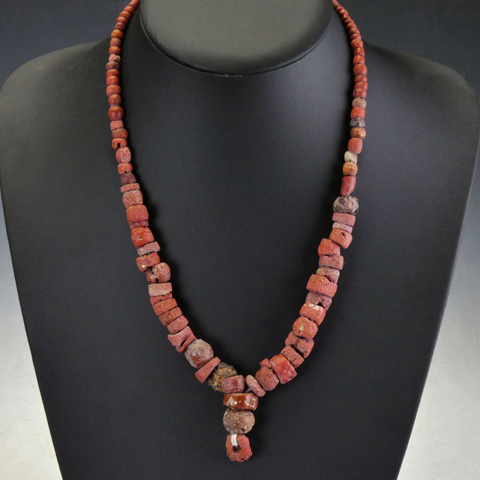Ancient Roman Glass Necklace with red glass beads - (1)