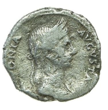 Roman Empire - AR Denarius posthumous, Antonia Minor, mother of Claudius, AD 39. Struck by Claudius, Lugdunum (Lyon), about AD 41-42.