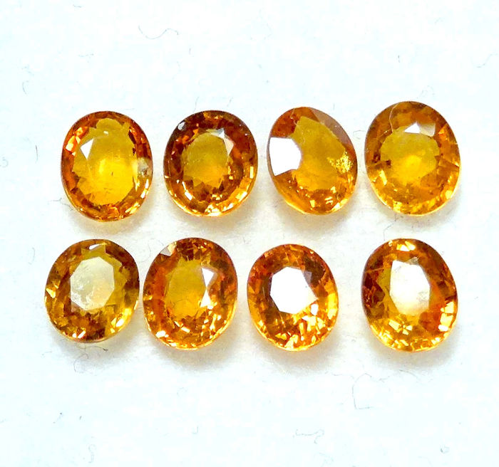 8 pcs Geel Saffier - 5.21 ct