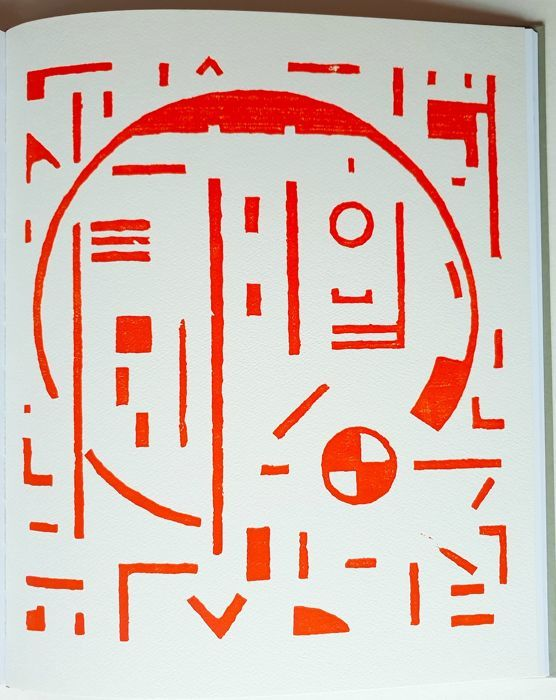 Erich Buchholz and 4 other artists of the NOVEMBERGROUPPE - without title, woodcut in red