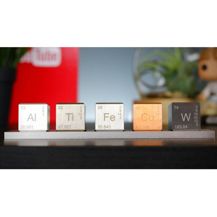 Set of 5 technical 26mm cubes: Copper(Cu)150g+ Aluminium(Al)50g+ Titanium(Ti)72g+ Wolframio(W)205g   - - (100% pure metals) - Manufactured by the Midwest Tungsten Refinery (USA)