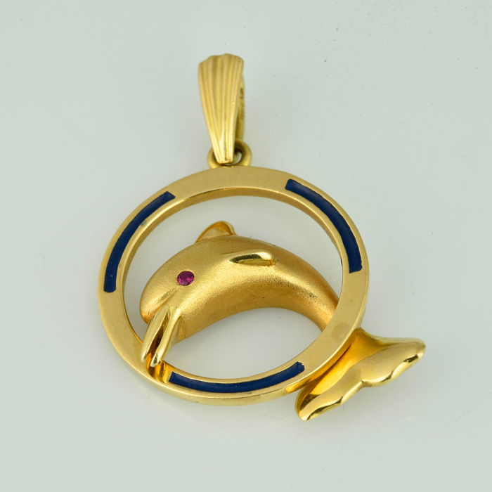 18 kt. Yellow gold - Pendant Ruby