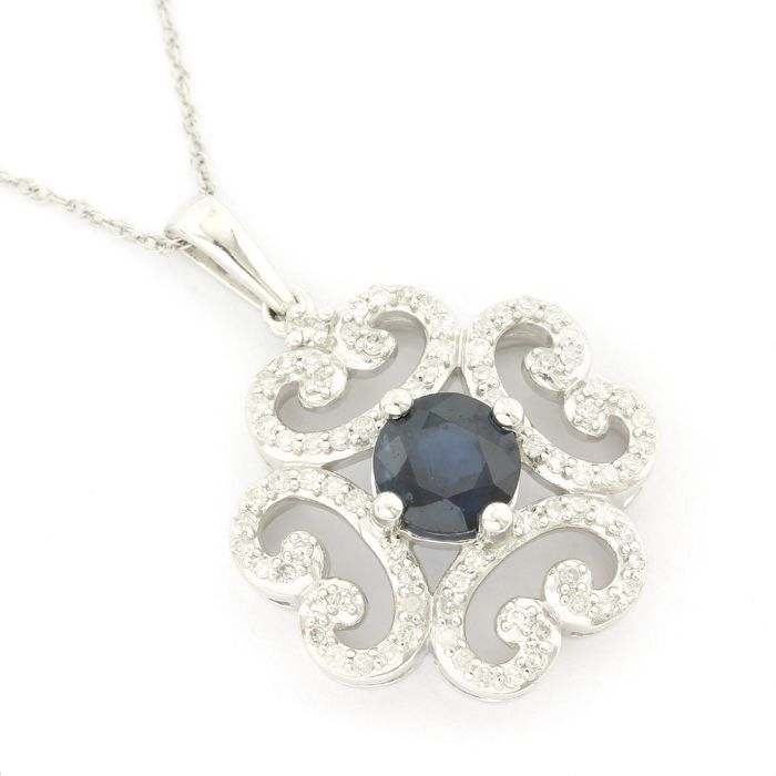 14 kt. White gold - Necklace with pendant - 1.00 ct Sapphire - Diamond