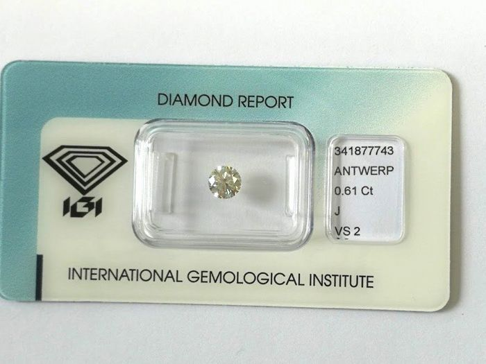 1 pcs Diamant - 0.61 ct - Briljant - J - VS2