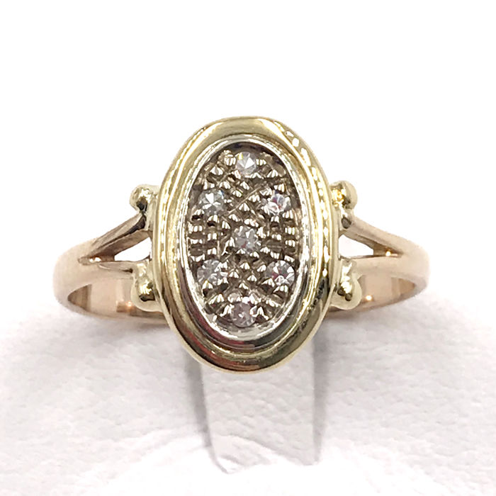 18 kt yellow gold - Ring - 0.07 ct diamond