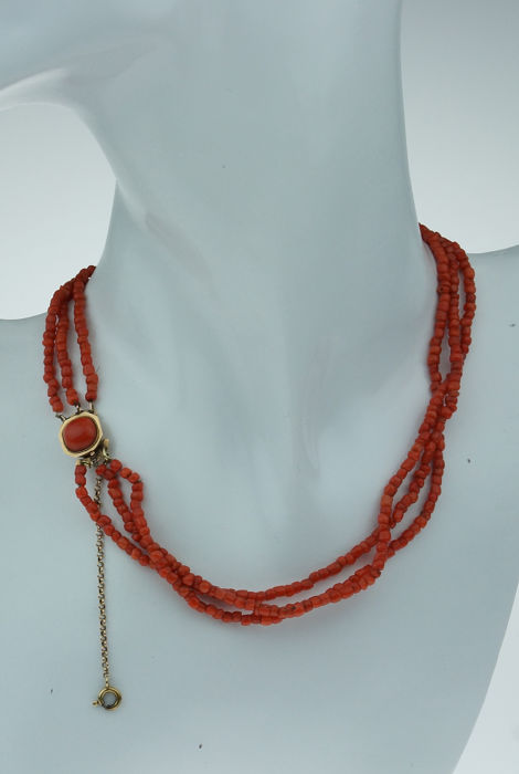Vintage - 14 kt. Gold - Necklace Blood coral