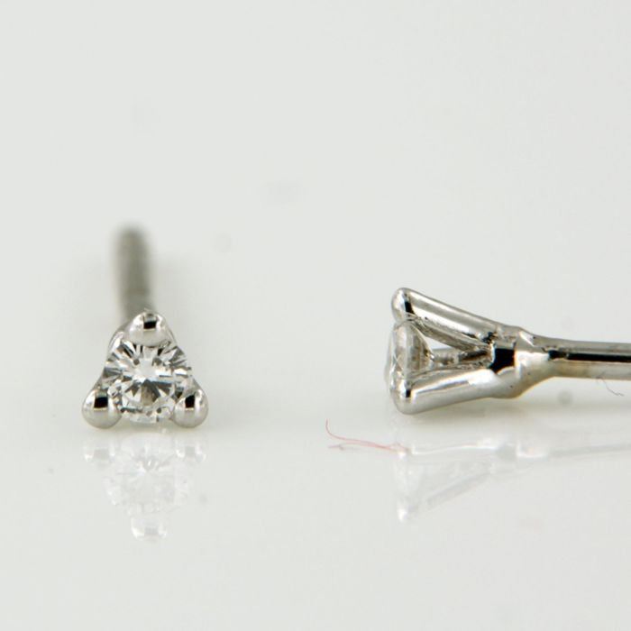 18 quilates Oro blanco - Pendientes - 0.14 ct Diamante