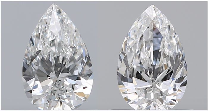 2 pcs Diamanten - 2.03 ct - Peer - G - VS1