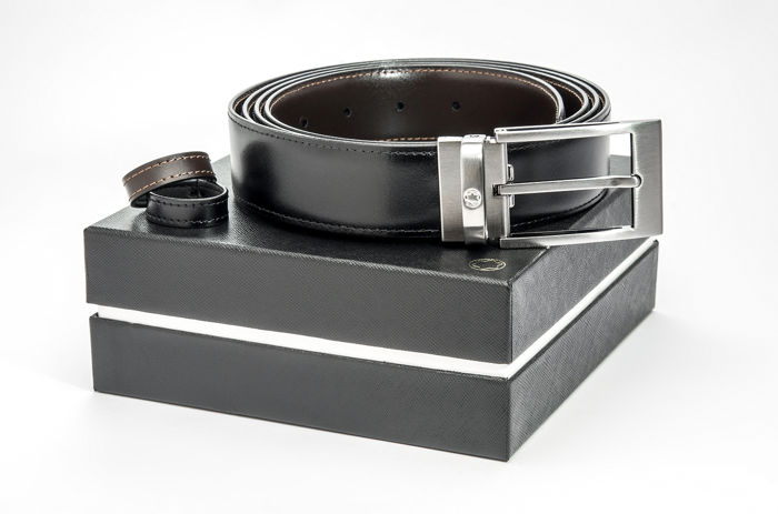Montblanc - Black/brown Casual Reversible Leather Belt (Ref. 105090) Belt