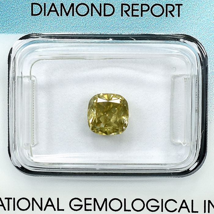 Diamant - 1.22 ct - Cushion - Natural Fancy Light Brownish Yellow - I1 - NO RESERVE PRICE