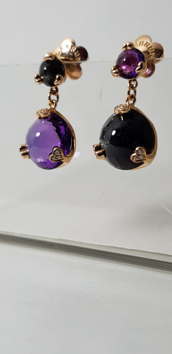 Pasquale Bruni - 18 kt. Yellow gold - Earrings amethyst and obsidian - Diamonds