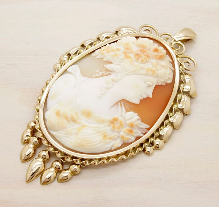 18 kt. Pink gold - Pendant Natural shell
