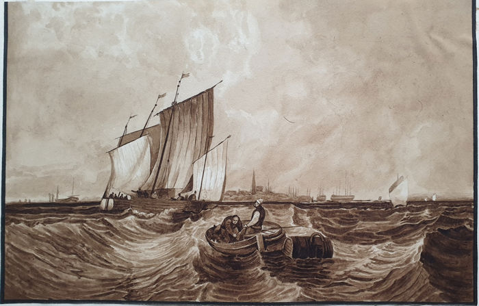 7 prints & paintings - various artists (16th to 19th century) - One seascape painting & other Maritime prints collection