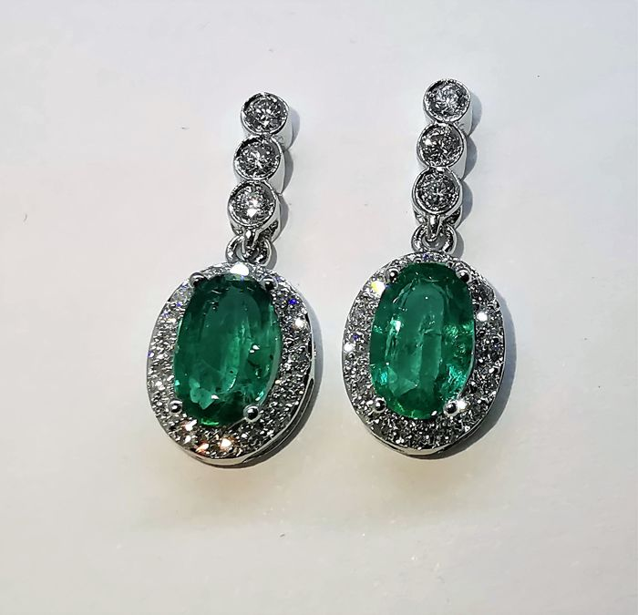 18 quilates Oro blanco - Pendientes - 2.05 ct Esmeralda - Diamantes