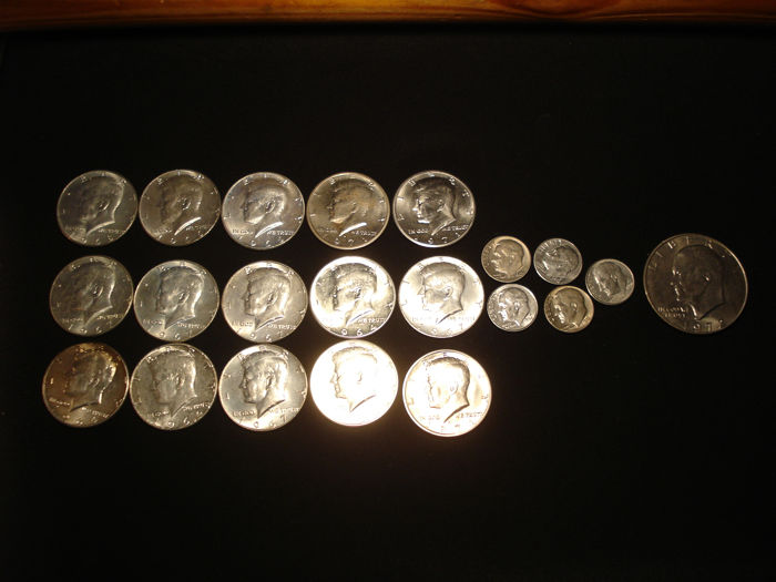 USA - 10 Cents (Dimes) + 1/2 Dollars and Dollar 1964/1994 (21 pieces) - Silber