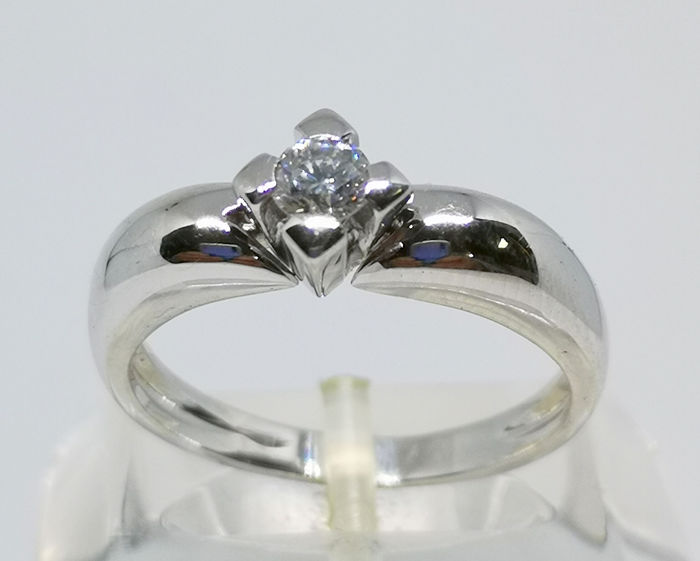 18 quilates Oro blanco - Anillo - 0.23 ct Diamante