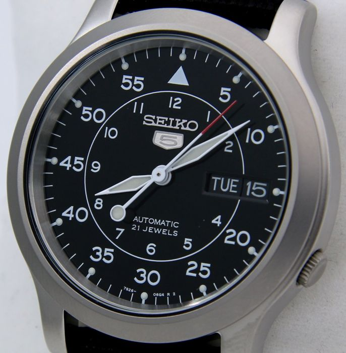 "Seiko - Automatic 21 jewels Black ""Military Style"" - ""NO RESERVE PRICE"" - Unisex - 2018"