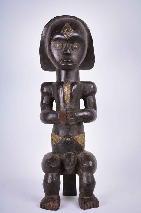 Powerfull Figure - Copper, Wood - Byeri - Fang - Gabon Ethnographic & Tribal Art African, used for sale