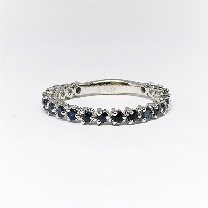 18 kt. White gold - Ring - 1.14 ct Sapphire