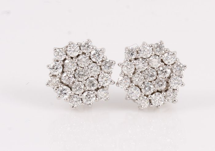 14 kt. White gold - Earrings - 1.00 ct Diamond