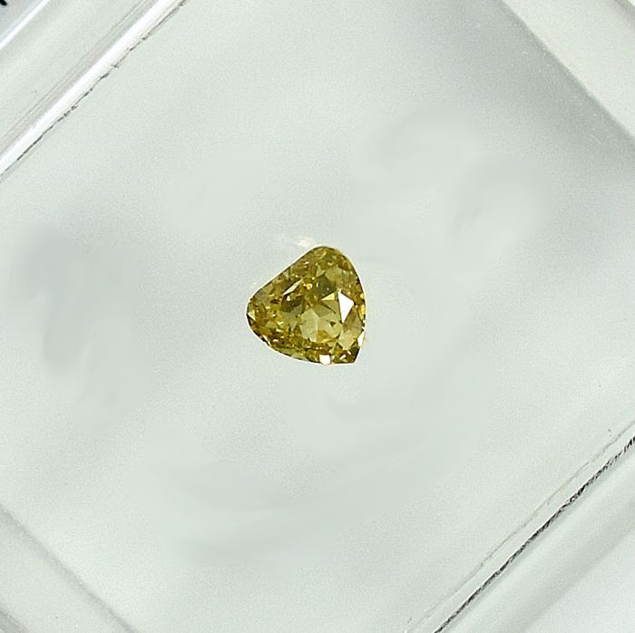 Diamant - 0.12 ct - Cleafless Heart - Natural Fancy Yellow - Si1 - NO RESERVE PRICE