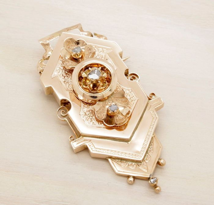 18 kt. Pink gold - Brooch Diamond - Diamonds