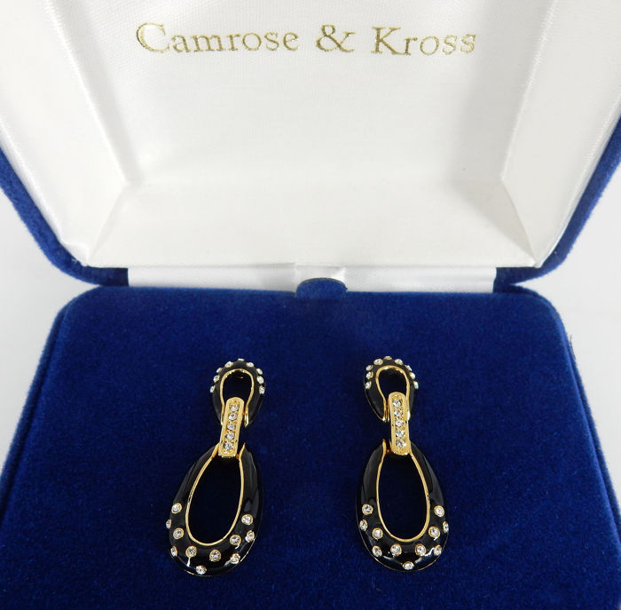 Camrose & Kross - Jacqueline Kennedy Collection - 22 kt. Enamel and Swarovski Cristals, Gold-plated - Earrings