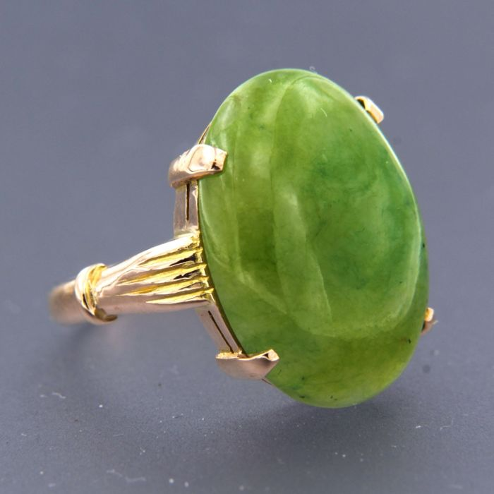18 K Ouro rosa - Anel Jade