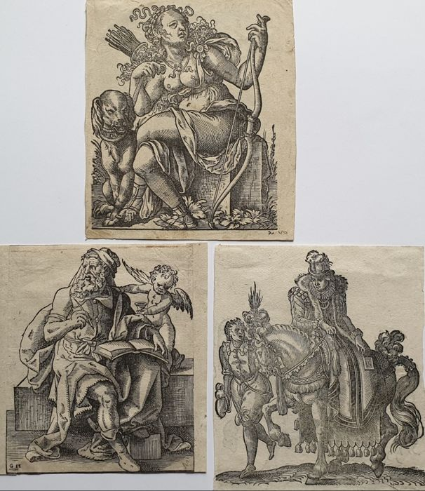 5 prints - Jost Amman (1539-1591) - Collection woodcuts from the Kunstbüchlein