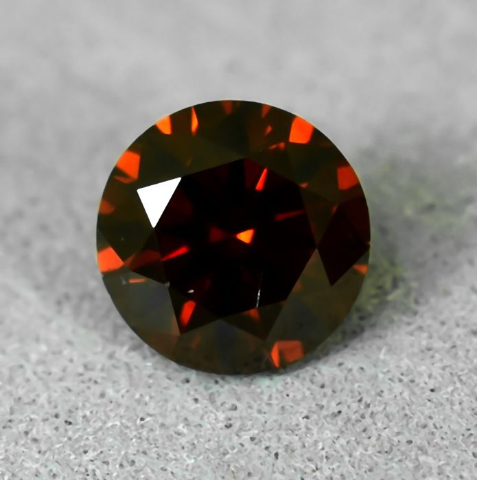 Diamond - 0.49 ct - Brilliant - Colour Treated, Fancy Deep Orange - Si1 - EXC/VG/VG