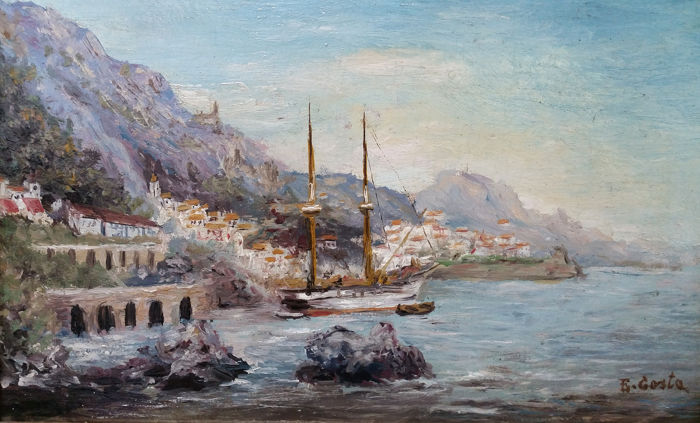 Emmanuel Louis Costa (1833-1921) - View of the harbour, south of france