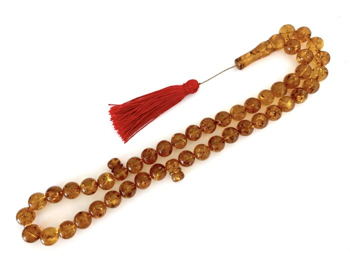 misbaha tesbih of 45 prayer beads 14mm, Rosary - Amber