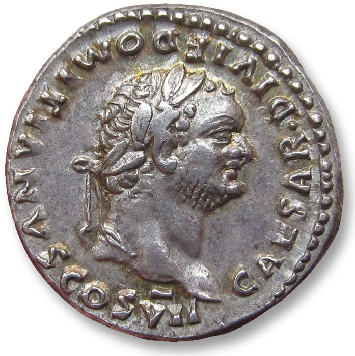 Roman Empire - AR Denarius, Domitian / Domitianus, Rome 80-81 A.D. - struck under Titus, with a dot (•) in obverse legend - Silver