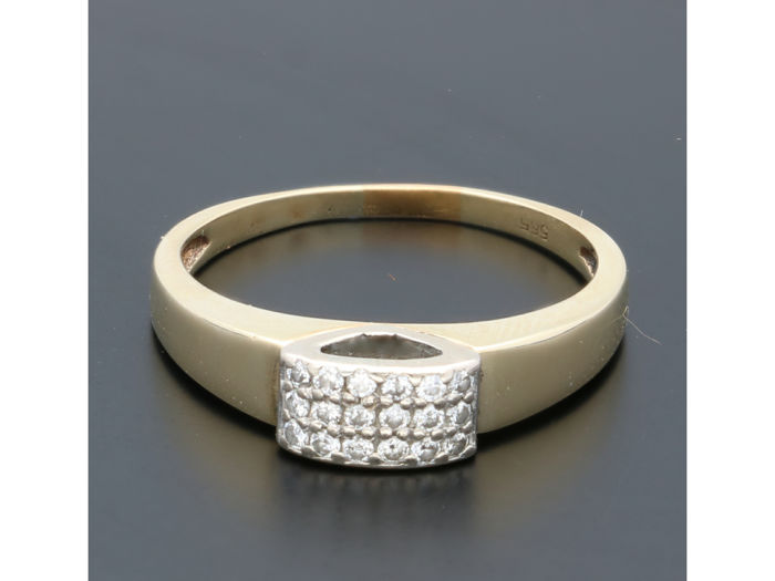 14 quilates Oro amarillo - Anillo - 0.09 ct Diamante