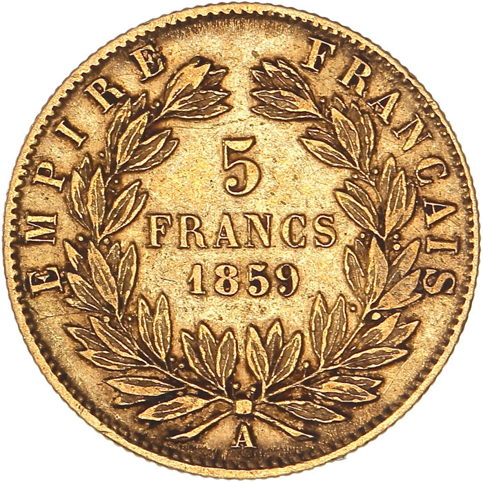 France - 5 Francs 1859-A Napoléon III - Gold
